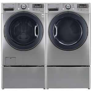 "LG WM3770HVA 27"" Front Load Washer With 5.2 cu.ft.and Dryer"
