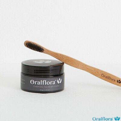 Oralflora® Kokosnuss Aktivkohle Pulver Set (Weiße Zähne +Bambuszahnbürste) - Zähne Zähne