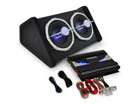 CAR AUDIO HIFI SYSTEM SUBWOOFER AMPLIFIER 2800W SET SUB AMP TWIN BASS SPEAKER