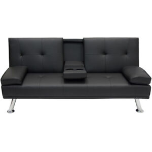 New Deluxe Futon Sofa Bed Couch Cup Holders On