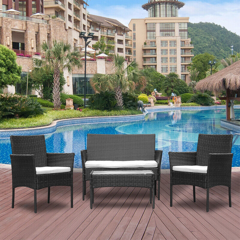 Garden Furniture - 4Pcs Rattan Garden Furniture Set Patio Outdoor Table Chairs Sofa Conservatory BN