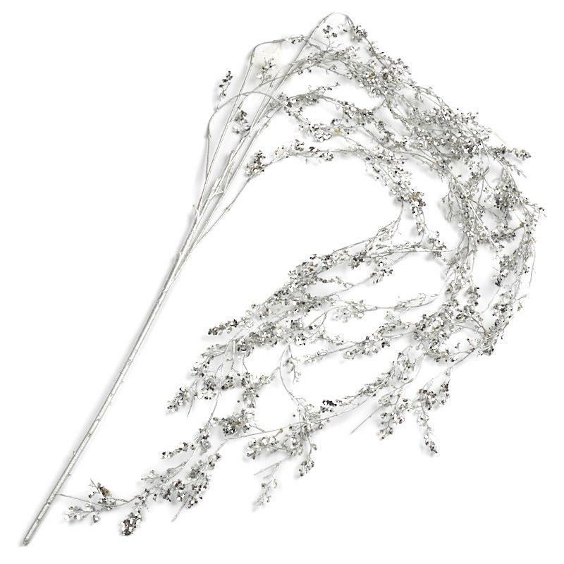 Cascading Silver Glittered Branch
