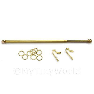 Puppenhaus Miniatur 12.7cm ausziehbar Messing Vorhang Stab und Ringe ()