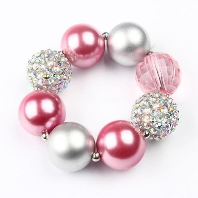 - Baby Girls Princess Pink Beaded Bracelet Children Pearl Party Wrist Bangle Gift