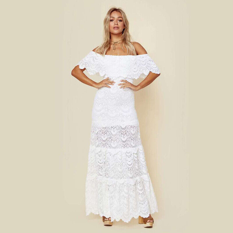 Boho Womens Holiday Off Shoulder Lace Ladies White Casual Party Long Dress UK