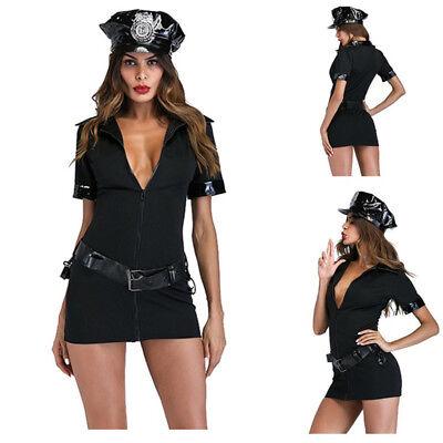 New Ladies Black Cop Police Woman Costume Uniform Party Fancy Mini Dress Outfits](Female Cop Outfit)