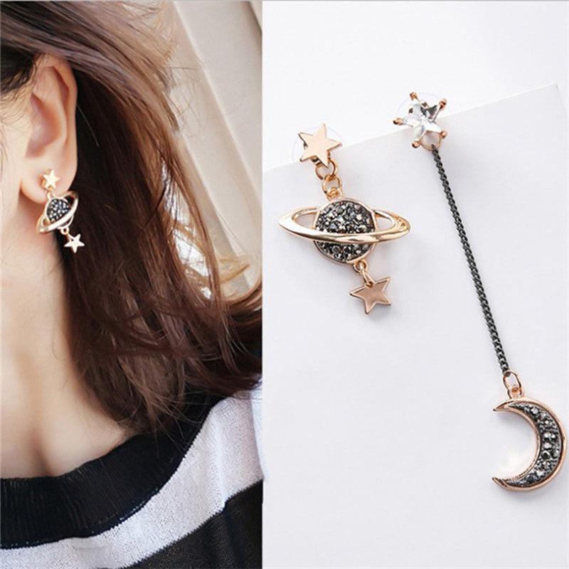 Korean Style Moon Star Planet Drop Dangle Earrings Asymmetri