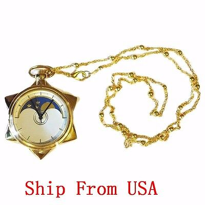 Sailor Moon 20th Anniversary Crystal Star Pocket Watch Necklace Pendant From USA