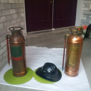 2 Copper Antique FIRE EXTINGUISHERS + Fire fighter HELMET