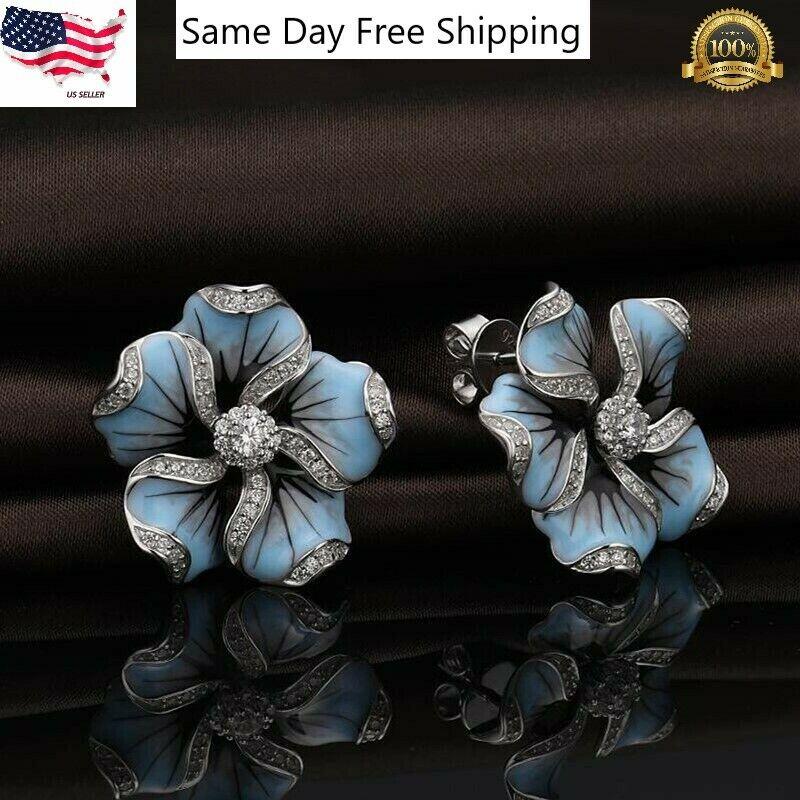 Jewellery - Pretty flower 925 Silver Stud Earrings for Women White Sapphire Jewelry A Pair