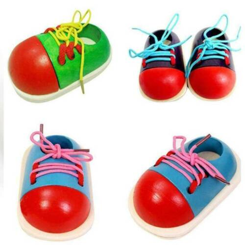 Hot Toddler Wooden Lacing Shoes Children Educational Montessori Teaching Aids US
