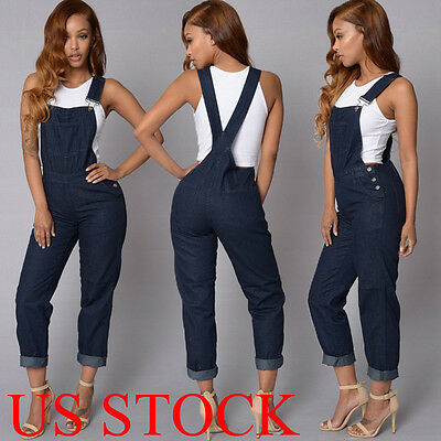 US Women Fashion Denim Jeans BIB Pants Overalls Straps Jumpsuit Rompers Trousers - Blue Jumpsuit