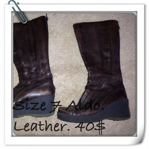 Brown leather boots from Aldo