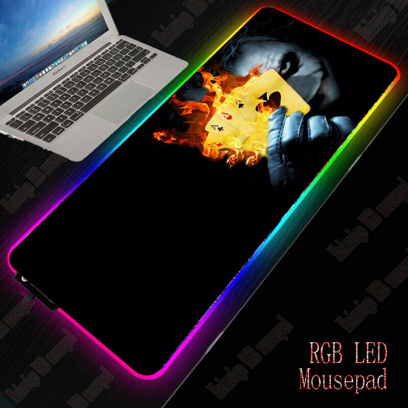Large RGB Colorful LED Lighting joker Gaming Mouse Pad Mat f