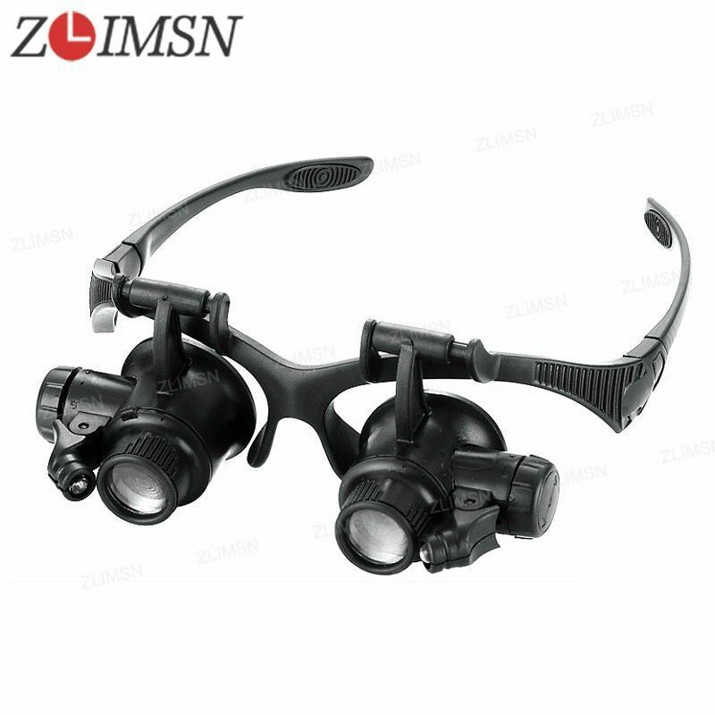 10/15X 20X 25X Eye Jewelry Watch Repair Magnifyier Glasses Black Loupe LED Light