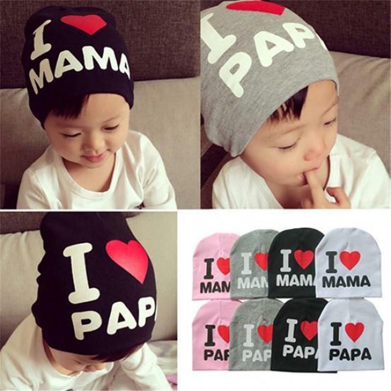 Baby Beanie Cap Boy Girl Toddler I Love Papa Mama Cotton Blend Warm Hat 4 Colors