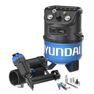 Hyundai 2 gal. Portable Electric Air Compressor with 2-in-1 Brad Nailer/Stapler Combo Kit (Model HHC2GNK)