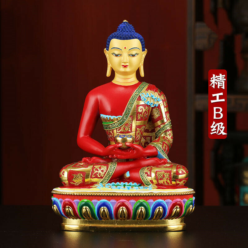 "8"" Tibetan Buddhism bronze copper gilt Coloured painting Amitabha statue"