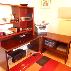 Desk with Shelving,wall unit w. lockable storage drawers & chair