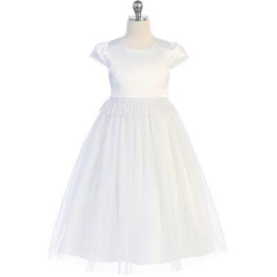 WHITE Flower Girl Dress Communion Dance Party Wedding Bridesmaid Formal Recital ()