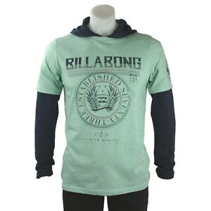 BILLABONG Boys Long Sleeve Hoodie Layered Top T Shirt (Multi Sizes) NEW