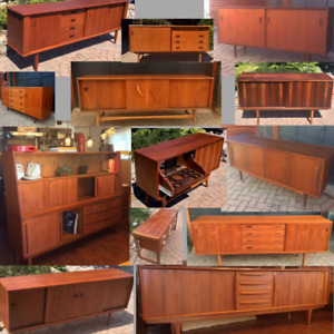 REFINISHED Teak Walnut MCM Sideboards TV Media Consoles Buffets