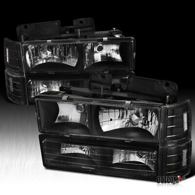 1994-1998 GMC C10 Pickup Sierra Black Headlights Bumper Corner Signal Lights ()