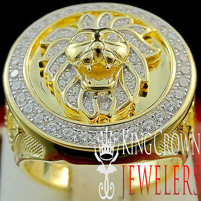 Mens 10K Yellow Gold On Real Silver Lab Diamond Lion Head King Pinky Ring Band