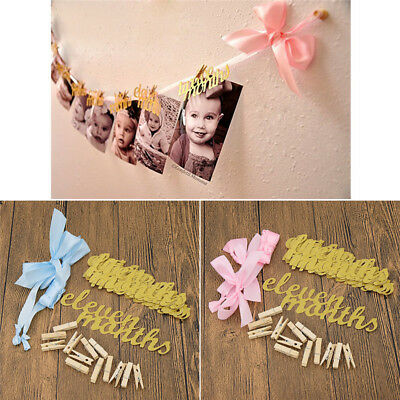 DIY Creative 12 Months First Birthday Monthly Paper Baby Photo Banner Supplies - Diy Birthday Banner