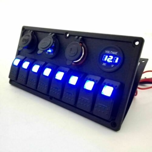 8 Gang 12V/24V DC Waterproof Rocker Switch Panel with LED fr Marine Boat Caravan