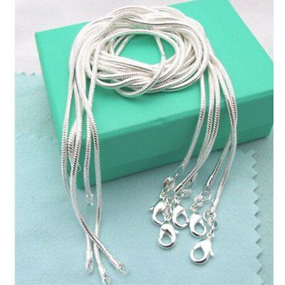 (5PCS 1MM Pure Solid Silver Snake Round Chain Necklace 16