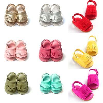 Summer Baby Girls Beach Sandals Tassel Anti Slip Crib Shoes Soft Sole Prewalkers