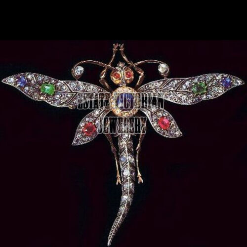 Vintage 3.80Cts Rose Cut Diamond Emerald Studded Silver Dragonfly Brooch Jewelry