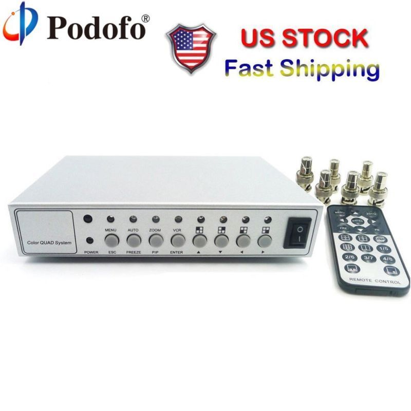 Video Quad Splitter Metal Color CCTV Video Camera Processor System Kit Switcher