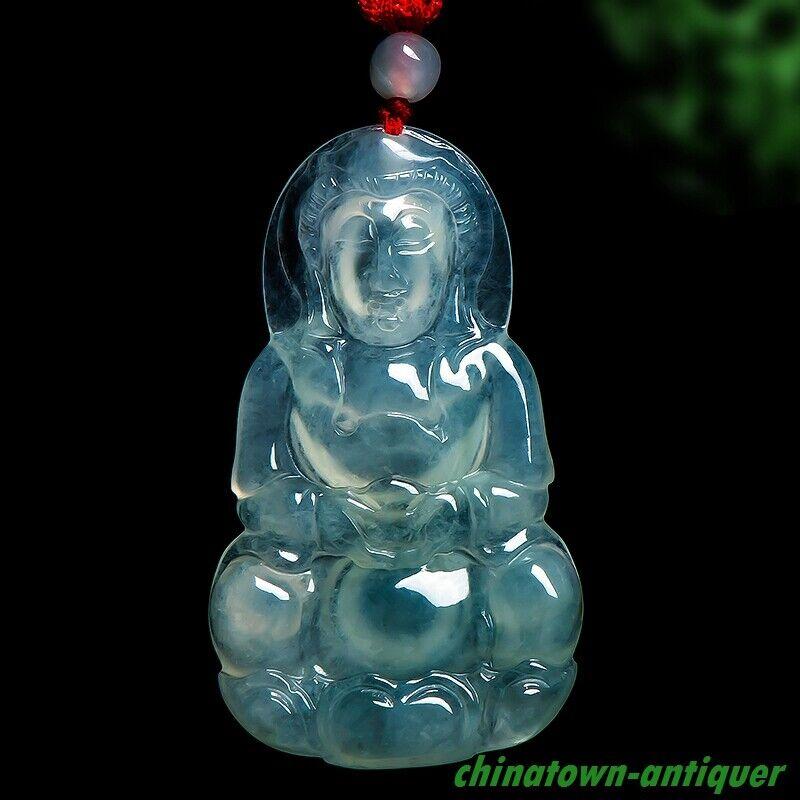 Burma Certified Grade A Ice Jadeite Jade Kwan yin GuanYin Buddha Pendant #5338