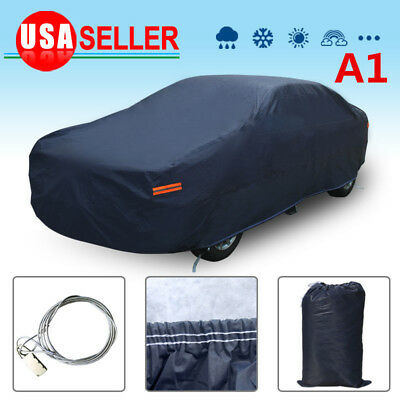 Multi Layers Car Cover Waterproof Breathable Seamless All Weather Protection US