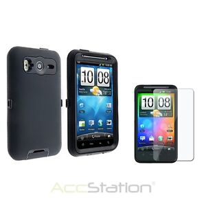 Black Double Layer Hard Skin Case Cover+Guard LCD For HTC Desire HD/Inspire 4G