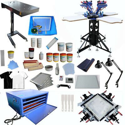 Techtongda 4 Color Screen Printing Kit T-shirt Silk Printing Press Machine New