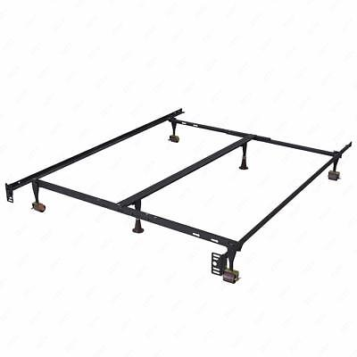 Metal Bed Frame Adjustable Queen Full Twin Size W/ Center Support Platform T46