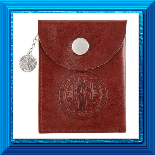 ROSARY Snap Close Case Holder Pouch ❤️ St. Saint Benedict Imit. Leather w/Medal