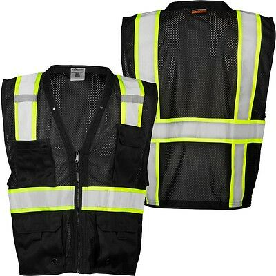 Ml Kishigo B100 Safety Vest Black With Lime Yellow And Silver Reflective Sm-med