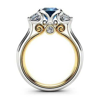 Fashion Two Tone 925 Silver Rings for Women Jewelry Blue Sapphire Ring Size 6-10 Blue Sapphire Two Tone Ring