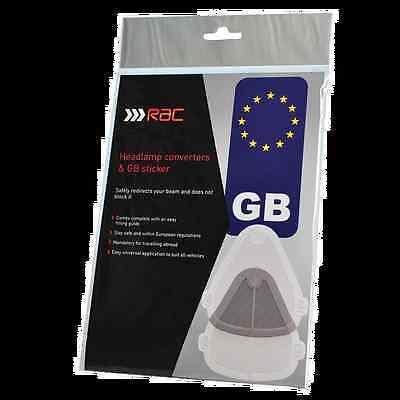 RAC Headlamp / Headlight Beam Deflectors & Convertors, GB Sticker & EU Guide