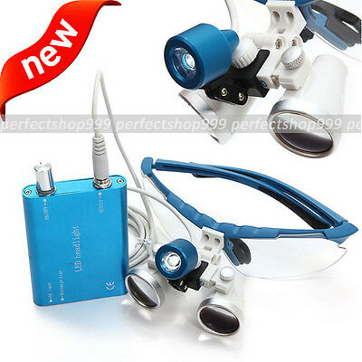 Blue Dental Surgical Medical Binocular Loupes 2.5x 320mm Led Head Light Lamp Ce