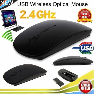 Black Wireless Mouse 2.4 Ghz Optical Small USB for Mac PC Laptop iMac