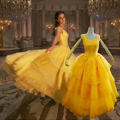 2017 Beauty And The Beast Woman Halloween Cosplay Costumes Princess Yellow Dress - Women's 2017 Halloween Costumes