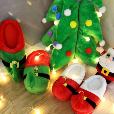 Warm Plush Christmas Santa Elf Slippers Xmas Kids Adult Family Shoes Bootie US