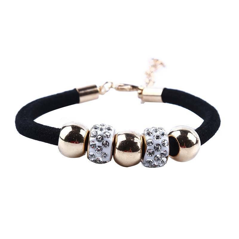 Braid Bracelet Beaded Women Charm Ladies Black Trendy Accessories Trinket N3