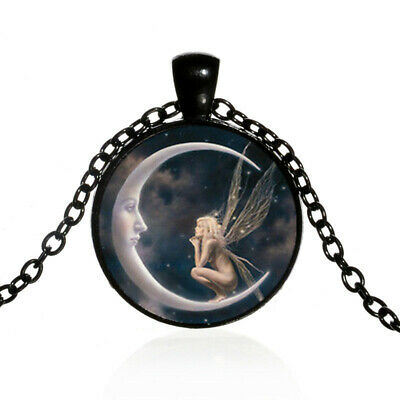 Fairy on the Moon Photo Cabochon Glass Silver Chain Pendant Necklace (black - The Moon Fairy