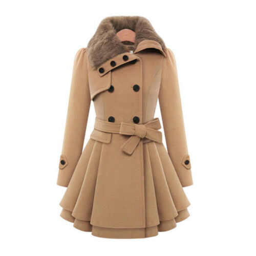 Women Thicken Fur Collared Winter Long Peacoat Coat Trench Outwear Jacket Dress 6
